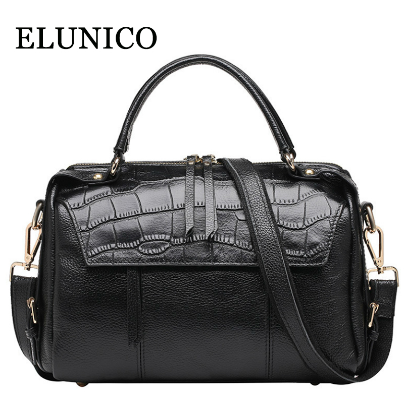 ELUNICO Genuine Leather Tote Bags for Women 2018 Designer Handbags High Quality Women Bags Shoulder Crossbody Bags Messenger Bag arnagar genuine leather luxury women messenger bags new designer handbags high quality lady tote bag crossbody bag for women page 1