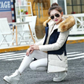 2016 New Fashion Artificial Fur Hooded Long Sleeve Patchwork Slim Cotton Coat For Woman D838