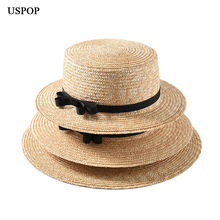 USPOP 2019 new women straw sun hat flat top natural wheat summer bow-knot beach