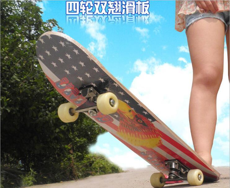 Primaire Double Rocker Skate Board Quatre roues de planche à roulettes