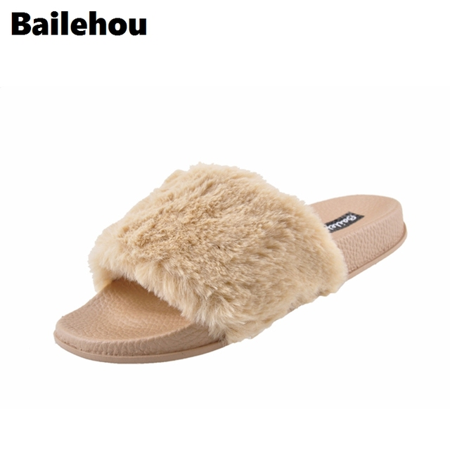 Bailehhou Women Flat Shoes Outdoor Fur Slippers Casual Slip On Slides Flats Flip  Flops Sandals Plush Slippers Size 36 To 41 1d3dce4304
