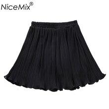 NiceMix 2019 Summer Chiffon Skirt Women Casual Elastic High Waist Skirts Womens Solid Saia Pleated Skirt Femme цена в Москве и Питере