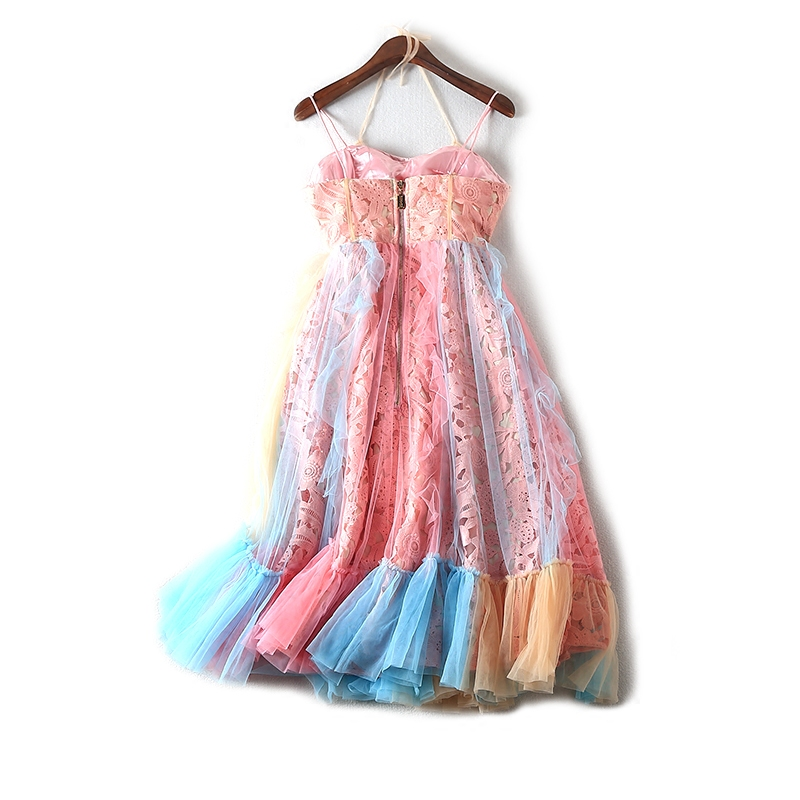 New 2018 spring and summer withdrawal cabinet scissors, ladies' dress, lace sling, lotus leaf dress 1517