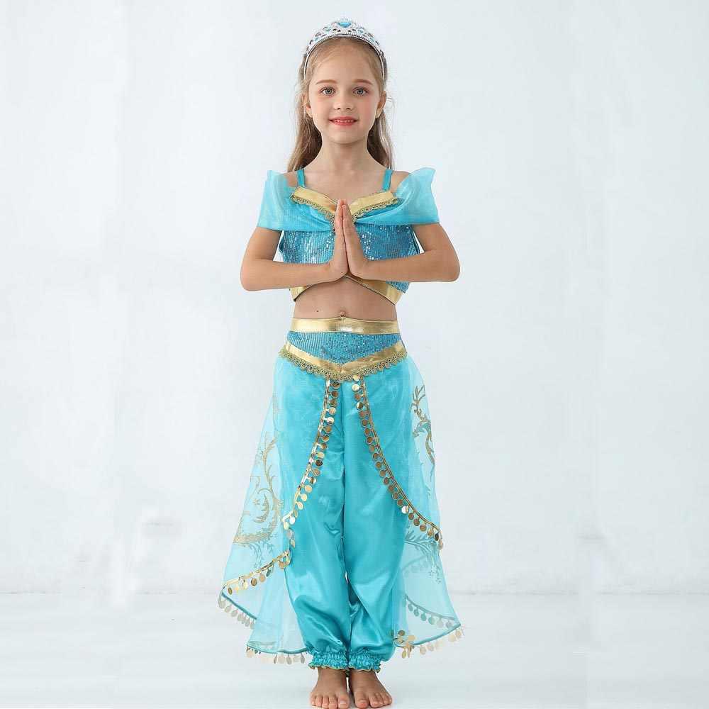 4 ชิ้น/เซ็ตเด็กผู้หญิงเจ้าหญิงจัสมินเครื่องแต่งกายสำหรับเด็ก Belly Dance ชุดอินเดียเครื่องแต่งกายฮาโลวีนคอสเพลย์