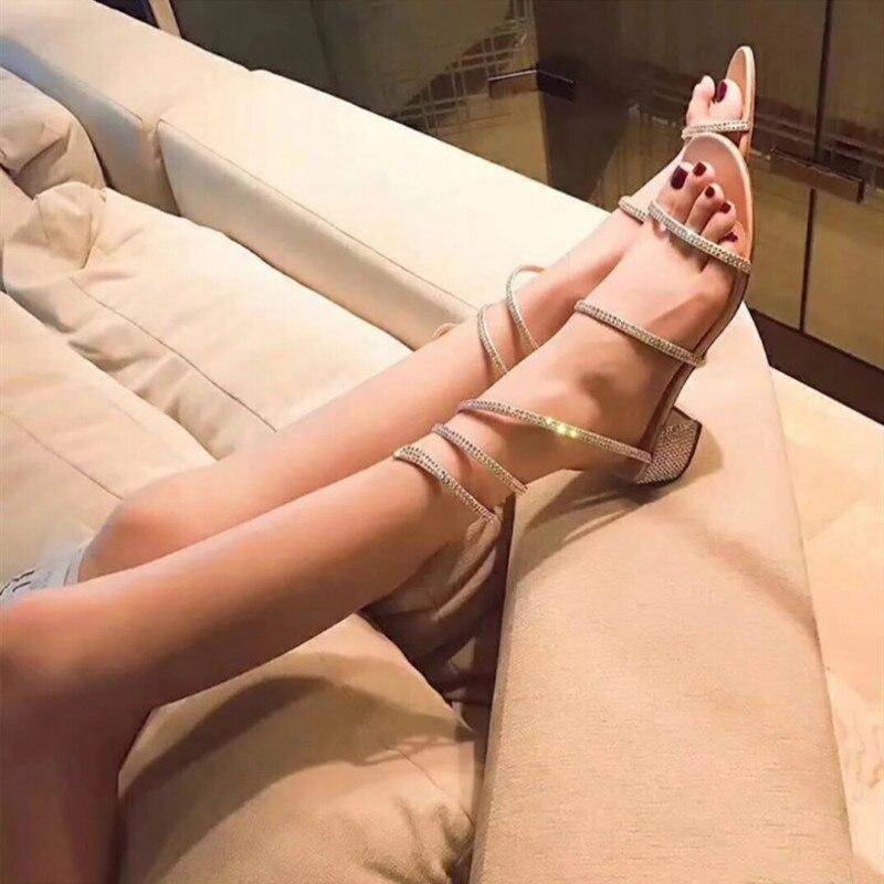 D'été champagne Épais Femmes Bretelles Sandales Luxe Strass Spartiates argent Follow Dames Pictures Serpent Enveloppé Noir Chaussures Sexy Nouveau Sandalias 2019 Talons De Mujer more vxCY8Hx