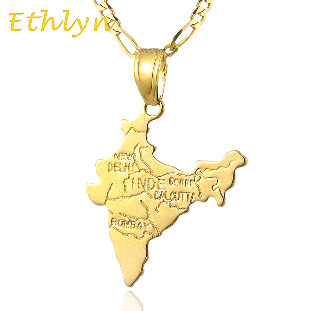 Ethlyn Gold Color Indian Map pendant & necklace for women & men ,fashion gold  India jewelry map P43