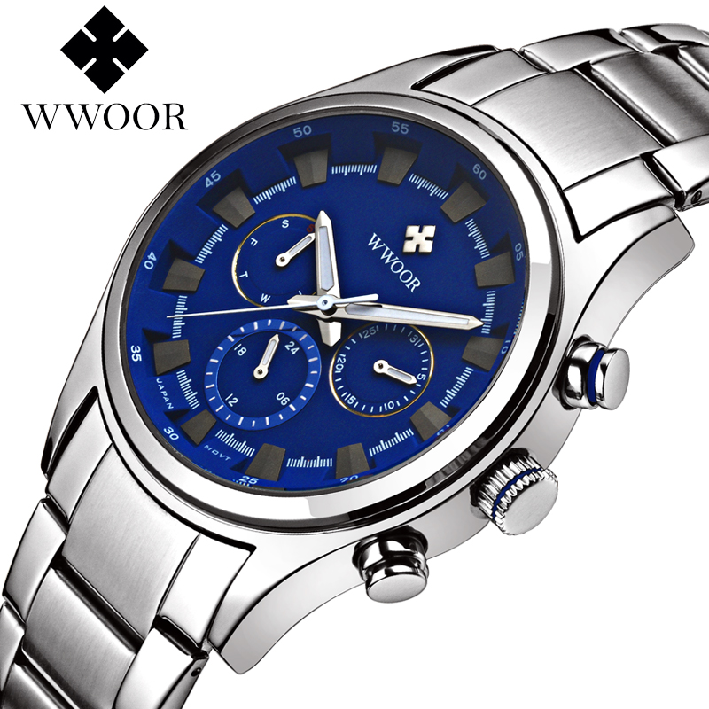 Brand WWOOR Men Watch Stainless Steel Business Quartz Watch Waterproof Mens Wristwatches Male Clock Relogio Masculino
