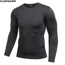 GANYANR Brand Running T-shirt Men Sportswear Fitness Bodybuilding Compression Long Sleeve Solid Polyester Spandex Winter Gym
