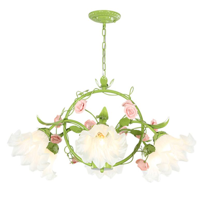 Green Pastoral Flowers Living Room Chandelier  Modern Dining Room Hanging Lamps Study Room Bedroom Chandelier Light modern crystal chandelier led hanging lighting european style glass chandeliers light for living dining room restaurant decor