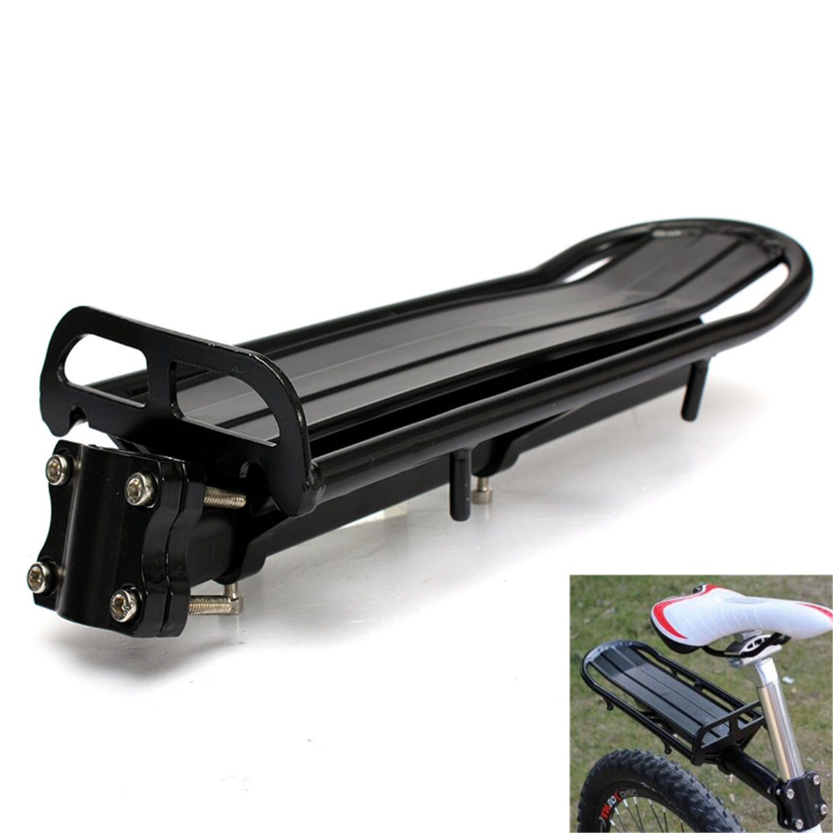 New Arrival Black Mountain Bike Seat Post Rear Carrier Cargo Bicycle Rack Extendable Bike Racks Fits Seat Post 27.2~31.8mm