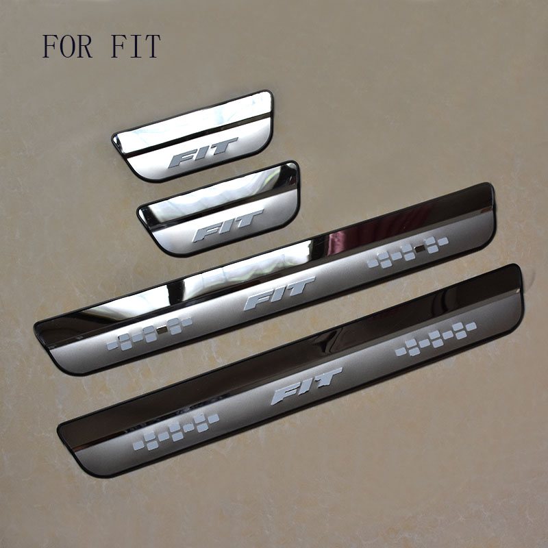 Car Styling FIT for <font><b>HONDA</b></font> FIT fit 2014 2015 <font><b>2016</b></font> 2017 Door Sill Scuff Pedal Door Step Welcome Pedal Automobile <font><b>Accessories</b></font> image