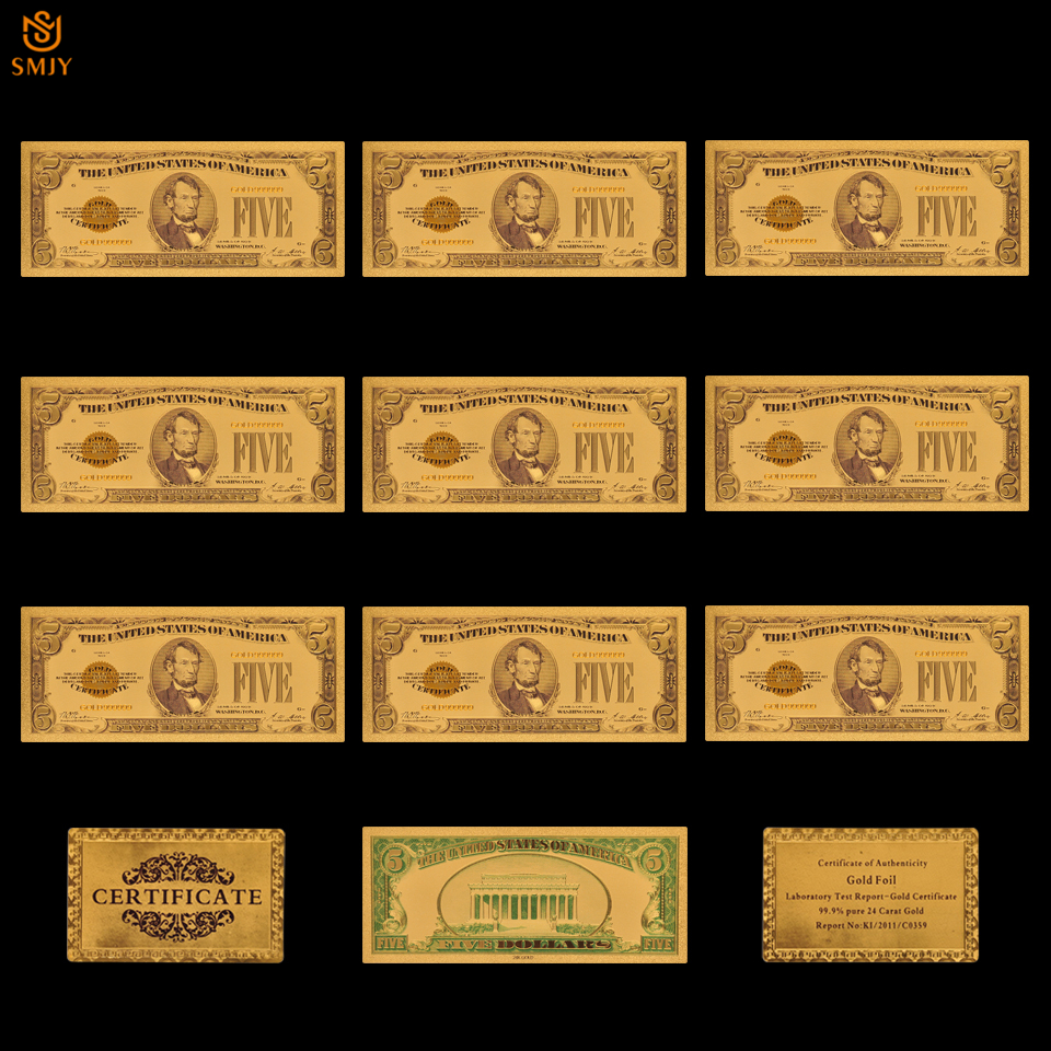10 PCS Production And Sales Products US Gold Banknotes <font><b>5</b></font> <font><b>Dollar</b></font> <font><b>Bills</b></font> Banknotes in 24k Gold Paper Money For CollectionS image