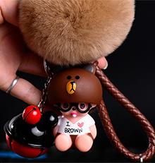 Lovely Brown Bear i love cony brown Bell Decoration Monchichi fur pompom Key Chain Keychain keyring Kiki Women Bag Charm pendant