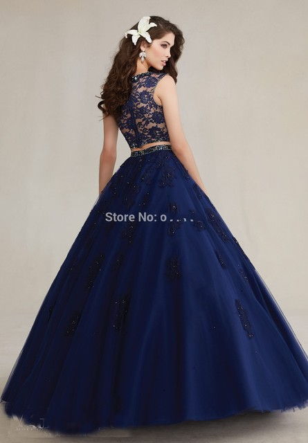 537903c8888 2016 High Neck Beaded Lace Appliques Prom Dress Navy Blue Sweet 16 Dress 2  Piece Quinceanera Dresses Ball Gowns