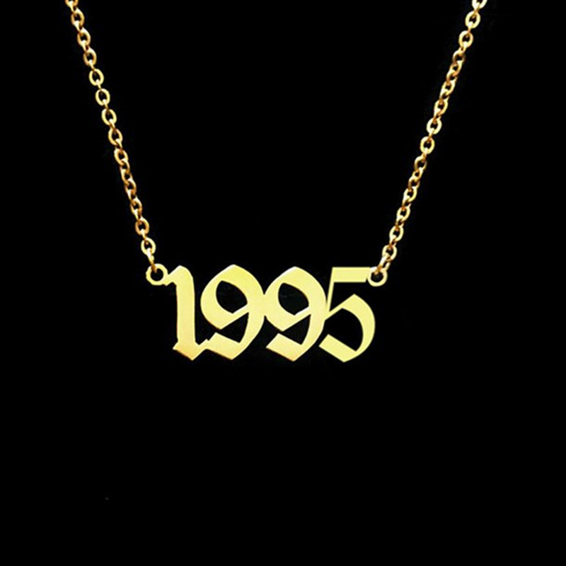 Amicable Personalized Old English Number Necklace Special Year Necklace New Year Pendant Jewelry Birth Year Necklace Birthday Gift Jewellery & Watches