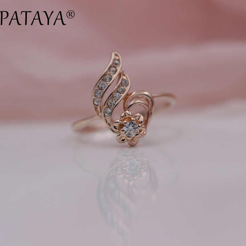 PATAYA New Special Offer White Rhinestones 585 Rose Gold Round Natural Zirconia Rings Women Wedding Party Hyperbole Jewelry