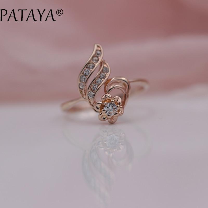 PATAYA New Special Offer White Rhinestones 585 Rose Gold Round Natural Zirconia Rings Women Wedding Party Hyperbole Jewelry