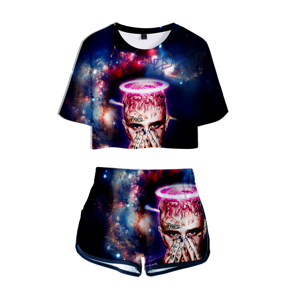 LUCKYFRIDAYF lil peep 3D Summer Shorts And T shirts Suicide Squad Women Two Piece Sets Fashion Print Crop Top Clothes 2XL in Women 39 s Sets from Women 39 s Clothing