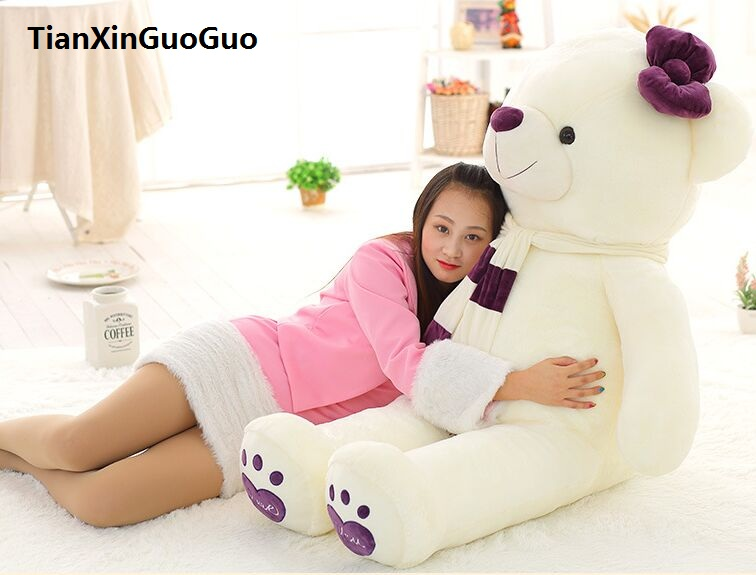 fillings toy love you bear plush toy huge 140cm white teddy Bear,purple scarf bear doll soft hugging pillow birthday gift b1027 stuffed animal 140cm white teddy bear plush toy soft doll throw pillow gift w1690