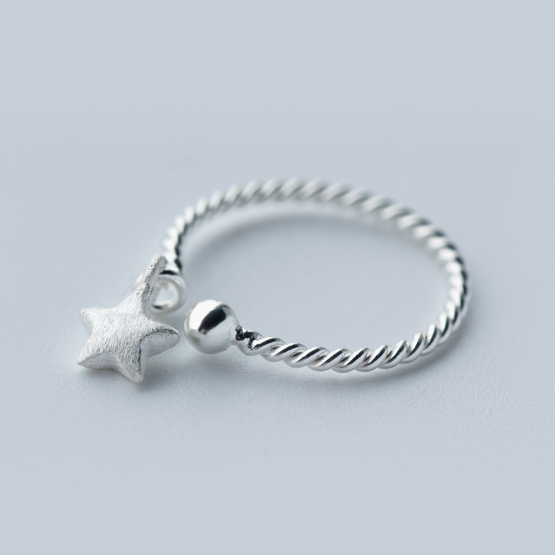 S.VEX 100% 925 Sterling Silver Rings For Women Lucky Star Design Vintage Silver Jewelry Open Ring For Lover Jewellery