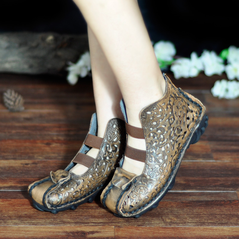 Women Gladiator Boots Sandal Leather Summer Shoes Hollow Out Embroidery Ankle Boots Spring Handmade Women Genuine Leather BootsWomen Gladiator Boots Sandal Leather Summer Shoes Hollow Out Embroidery Ankle Boots Spring Handmade Women Genuine Leather Boots