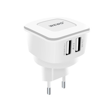 WEWO 5V 2.4A Total 2 Dual USB Port  Cell Mobile Phone Charger Quick Fast Intelligent  Phone Charger mobile phone