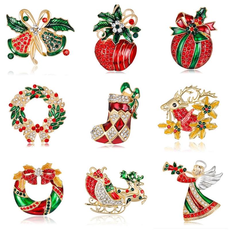 Роскошная Изысканная Рождественская брошь LUBOV, булавка, снеговик, Санта-Клаус, ботинки, гирлянда, модные ювелирные изделия, подарок на Рожде...