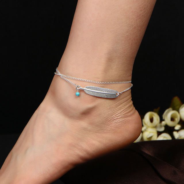 charm silver style feather ankle dragonfly minimal bracelet anklet pin sterling chain