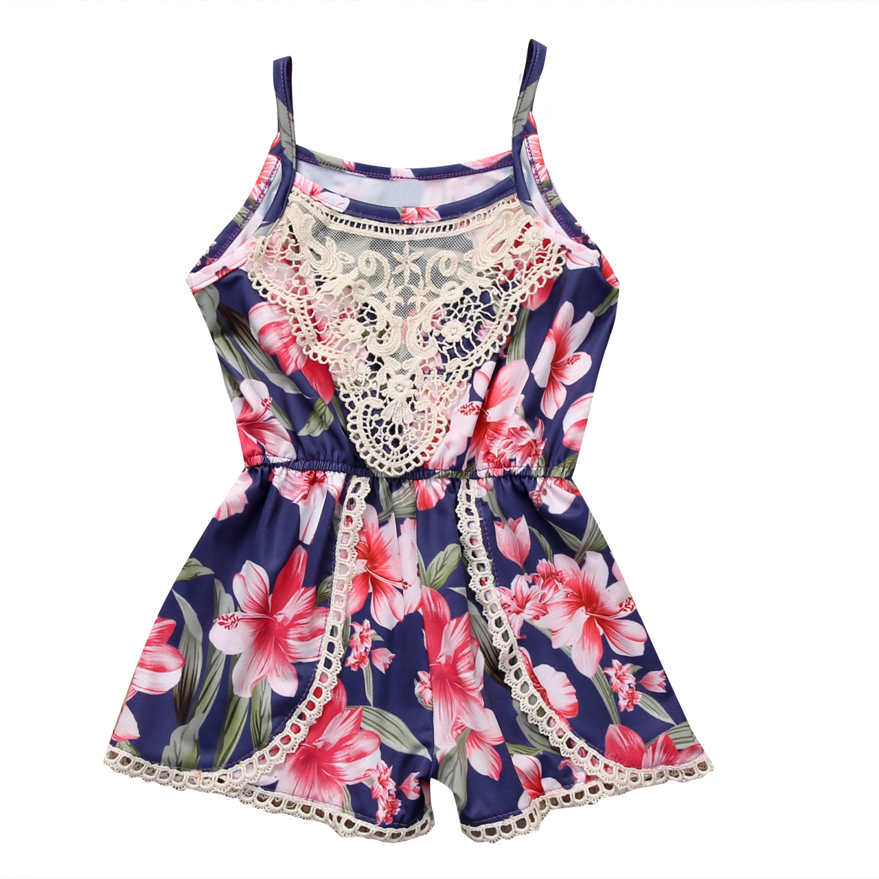 2017 Baby Girls Princess 0-24M Summer Sleeveless Lace Floral Sleeveless Backless Romper Jumpsuit Sunsuit