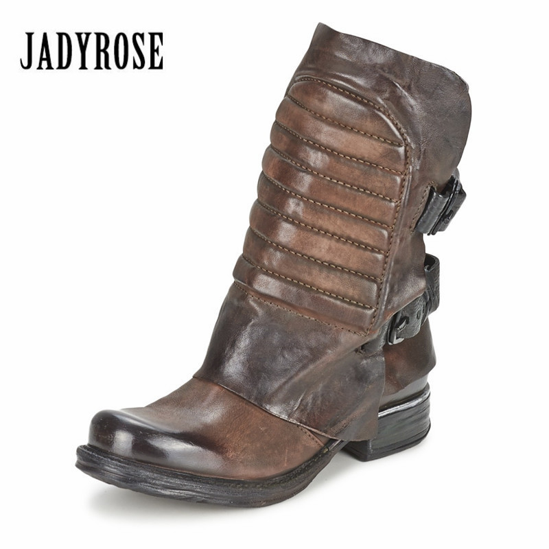 Jady Rose Vintage Genuine Leather Women Ankle Boots Thick Heel Flat Booties Side Zipper Rubber Botas Short Martin Boot
