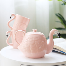 Pink ceramic flamingo cup teapot high quality tea set coffee cup creative water kettle home drinkware mug birthday gift