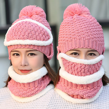2017 New Neck warmer ski cap and scarf cold warm fur lining winter hat for women men Knitted thick velvet Beanies hat Bonnet 35colors silver gold soild india scarf cap warmer ear caps yoga hedging headwrap men and women beanies multicolor fold hat 1pc