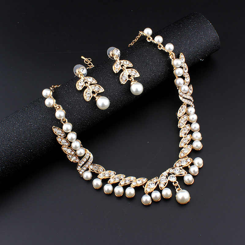 Jiayijiaduo Bridal Jewelry Sets Necklace Earrings Gold Color Imitation Pearl Banquet Party Accessories