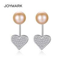 Double Wearing Methods Zircon Heart S925 Sterling Silver Stud Earrings Freshwater Natural Pearl Jewelry For Girls JPSE039