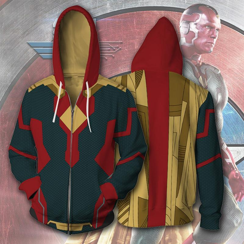 Vision Infinity War Hoodie man zipper hoodies top sweatshirt jacket Coat For Adult Man