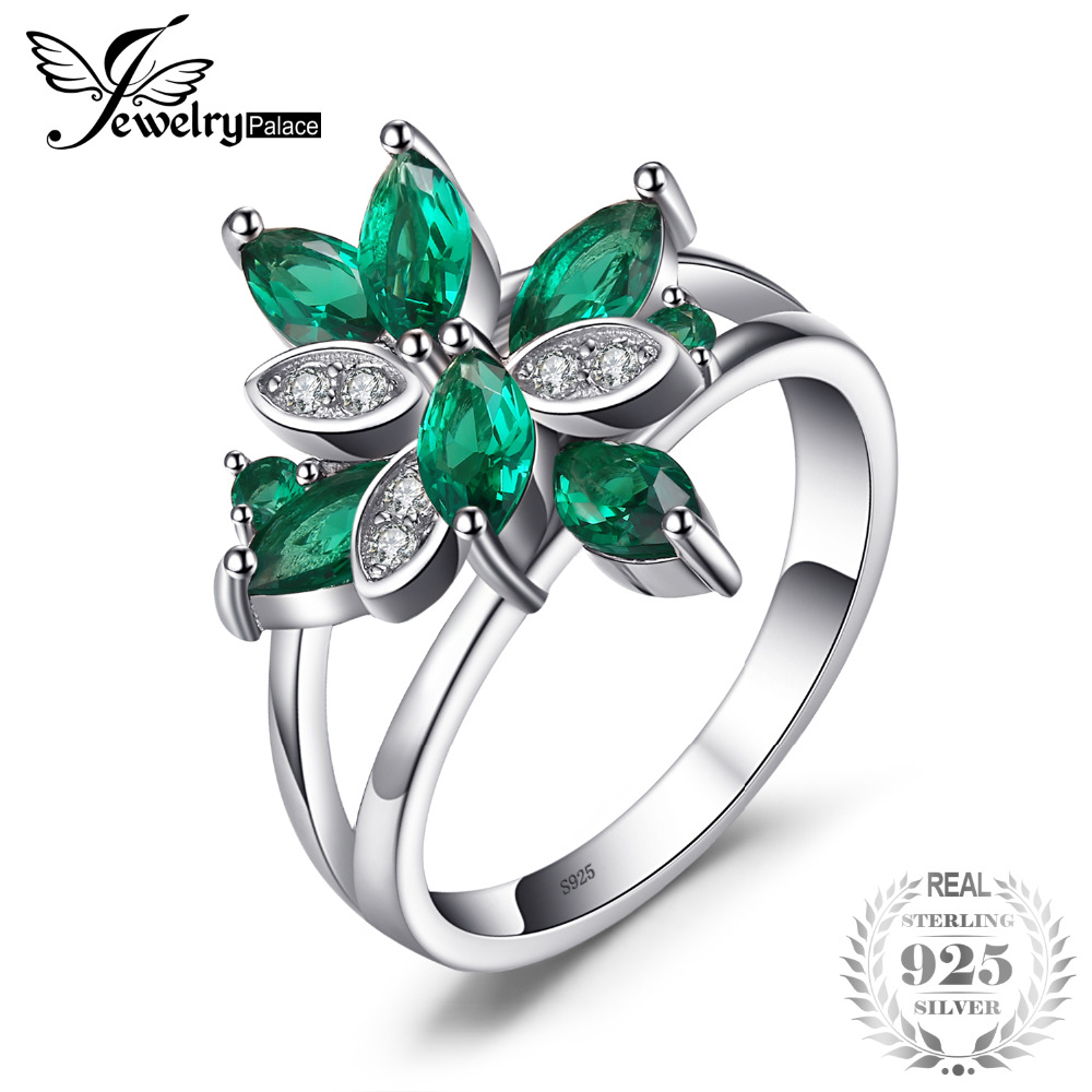 JewelryPalace Flower Shape 1.3ct Created Green Emerald Cocktail Ring Real 925 Sterling Silver Fine Jewelry for Women On SaleJewelryPalace Flower Shape 1.3ct Created Green Emerald Cocktail Ring Real 925 Sterling Silver Fine Jewelry for Women On Sale