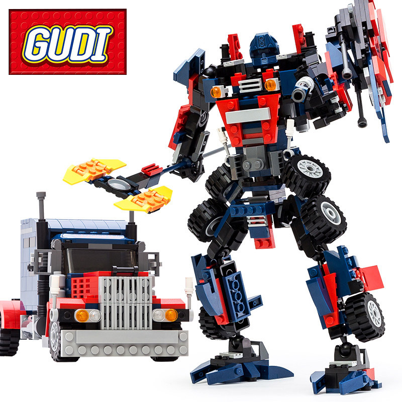 GUDI 8713 Robot Car 377pcs Classic Building Blocks Set Kids DIT Bricks Models Educational Toys For Children Christmas Gift