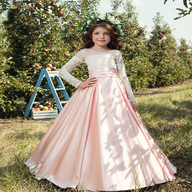 Vintage Princess Floral Lace 2017 Long Flower Girls Dresses Ankle-Length Mother Daughter For Wedding Satin Dress