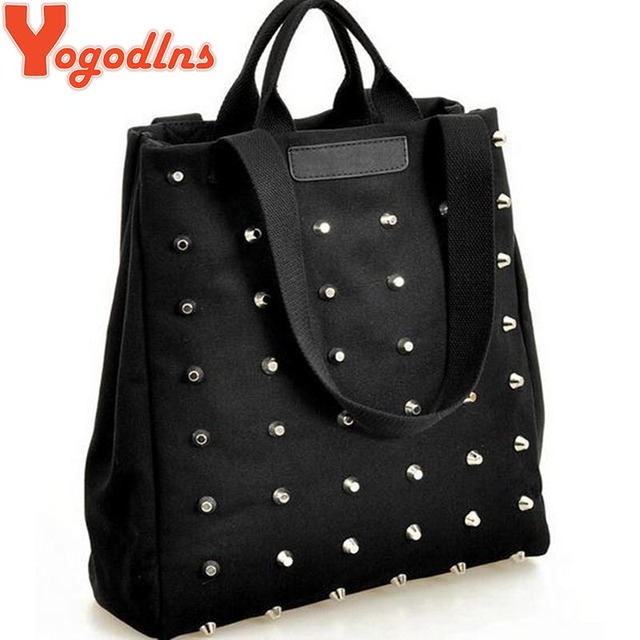 Hotsale women's handbag preppy style punk rivet handbag thickening canvas bag student bag