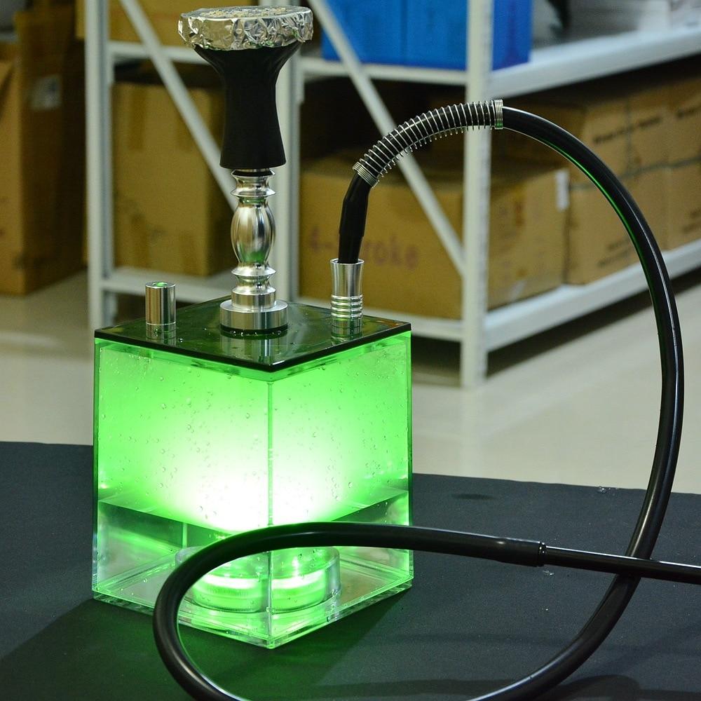 Acrylic Shisha Pipe Set Hookah with LED Light Sheesha Ceramic Bowl Hose Narguile