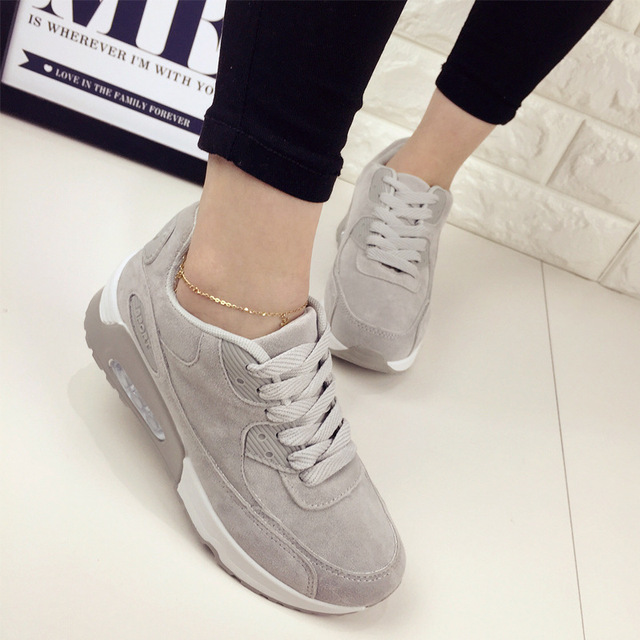 9be1d0b8 Fashion 2016 Spring Casual Shoes Lace Up Women Trainers shoes Platform  Comfort Air walking Shoes