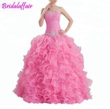 Pesado Beading vestido Rosa Vestido de Baile Quinceanera vestidos de 15 años debutante vestidos de 15 anos vestido de baile quinceanera