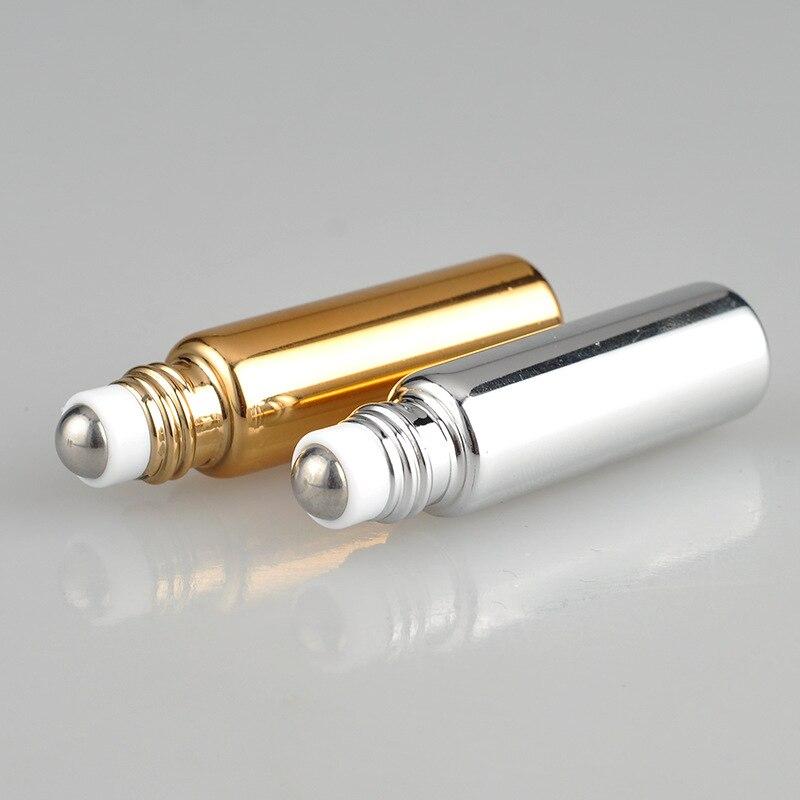 5ML Amber göz kremi Fullfill cam ince cam silindir şişeleri kahverengi uçucu yağ şişesi örnek Test şişesi metal top