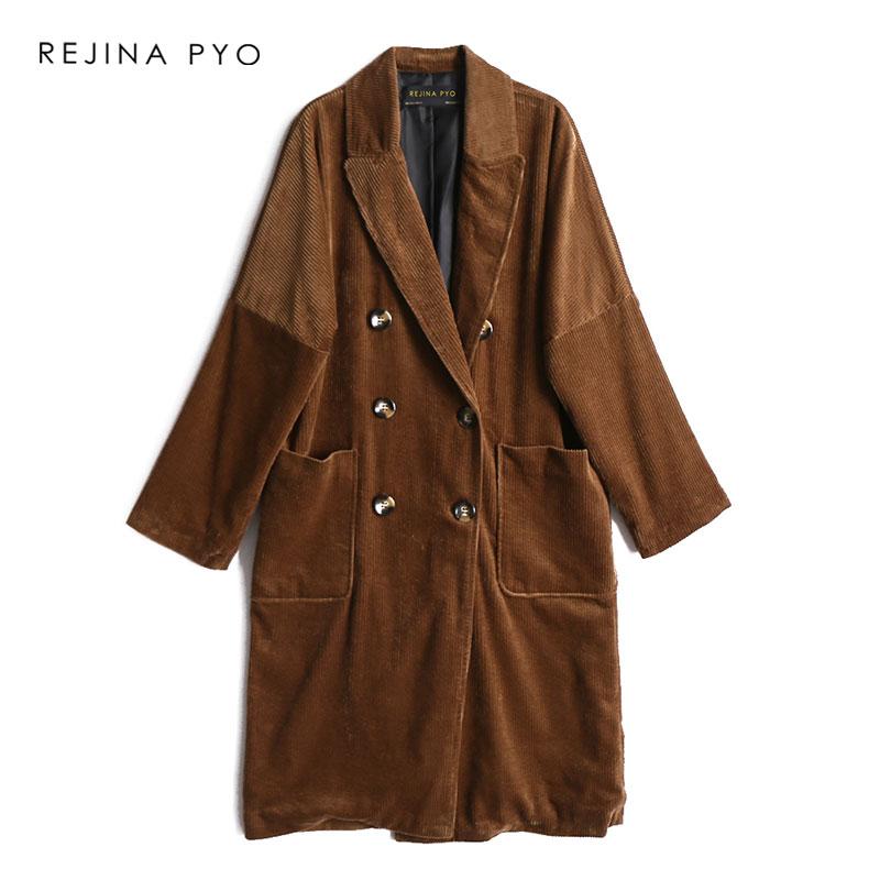 REJINAPYO Women Corduroy Elegant Double Breasted Long   Trench   Coat Pockets Womens Fashion Loose Long Outerwear Turn-down Collar