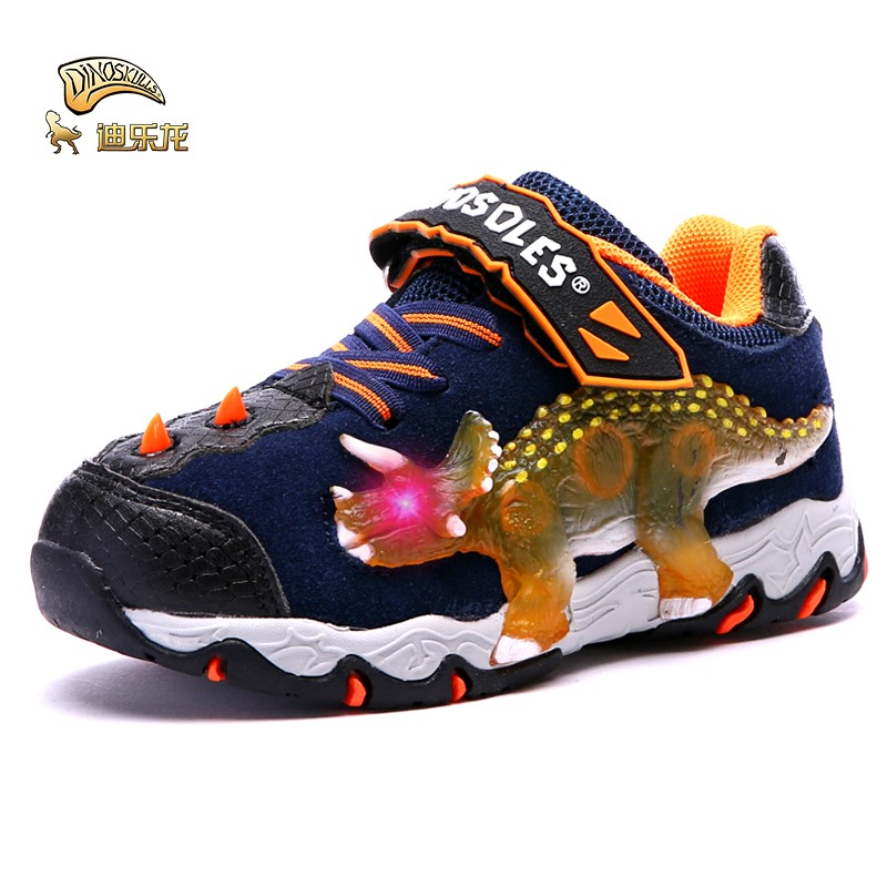 DINOSKULLS Children's Autumn Sneakers Glowing For Boys 3D Dinosaur Eye Light Up Kids LED Shoes Light-weigth Boys Running Shoes