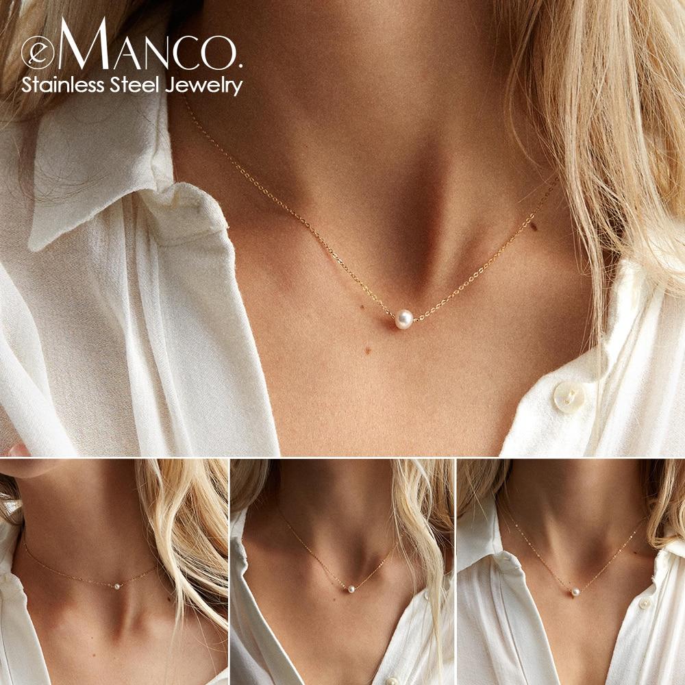 E-Manco классическое ожерелье из нержавеющей стали Простой Имитация чокер с жемчугом подвеской ожерелье для женщин ожерелья с цепочкой