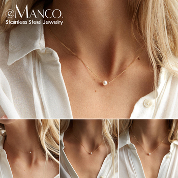 цена на e-Manco stainless steel choker pearl necklaces for women gold layered Chain necklace jewelry