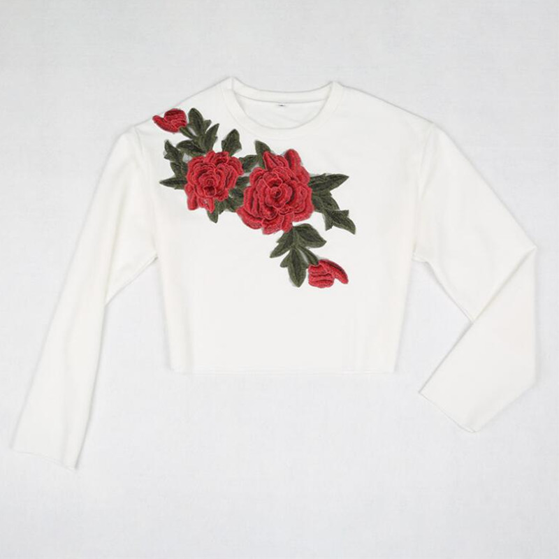 9314d138b55 New Ladies Fashion Long Sleeve O Neck Rose Floral Embroidery Casual  Oversized T shirt Crop Top -in T-Shirts from Women's Clothing on  Aliexpress.com ...
