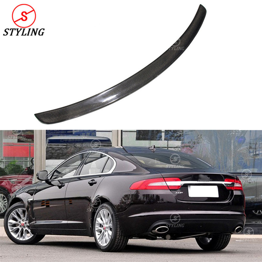 2013 2014 2015 XF Carbon Fiber Rear spoiler For Jaguar X250 X260 rear bumper trunk wing XF Carbon Fiber Rear Spoiler car styling olotdi car styling carbon fiber back lip rear bumper diffuser spoiler splitter for porsche macan 2014 2016