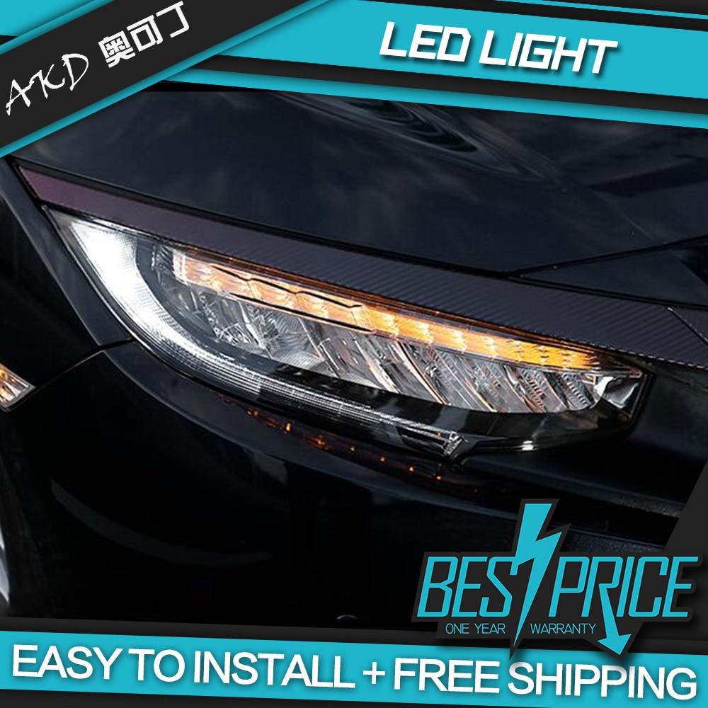 Phare de style AKD Cars pour Honda CIVIC X G10 Origine Type phares LED feux de circulation faisceau bi-xénon feux de brouillard yeux d'ange - 2